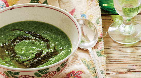 Pea, Pesto and Arugula Soup