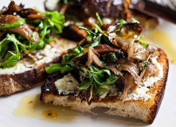 Mixed Mushroom Bruschetta with Truffle Vinaigrette