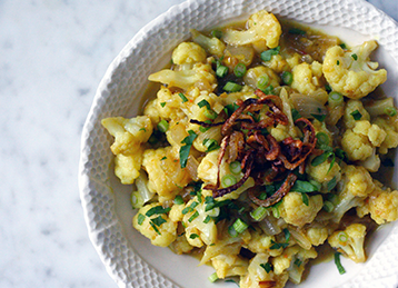 Cauliflower Curry with Crispy Shallots